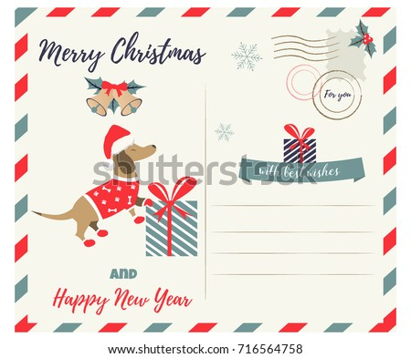 Christmas new year greeting postcard holiday stock vector 716564758 christmas or new year greeting postcard with holiday dachshund m4hsunfo