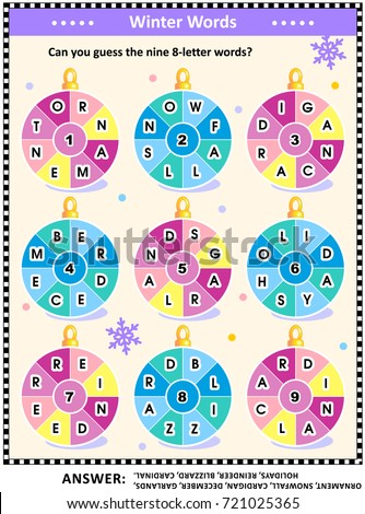 Christmas New Year Word Puzzle English Stock Vector HD (Royalty Free ...