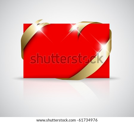 Christmas or wedding card - Golden ribbon around blank red paper,  where you should write your text - stock vector