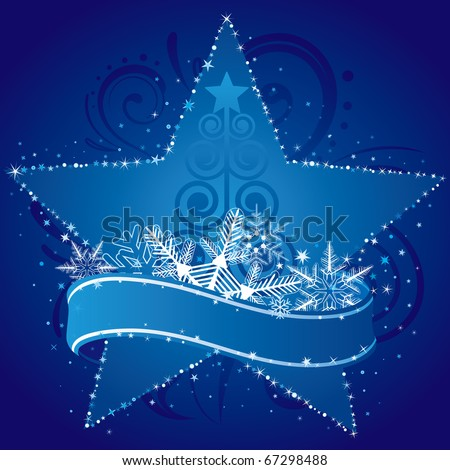 christmas ornament and starry background - stock vector
