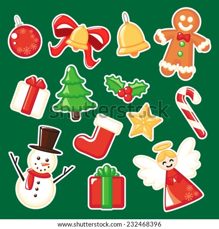 Christmas ornament elements. - stock vector
