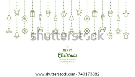 christmas ornament elements hanging green white background