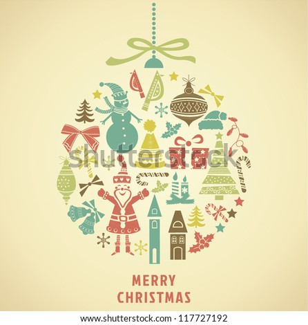 Christmas ornament formed from holidays icons. Vector Illustration. - stock vector