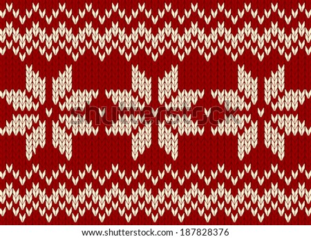 christmas ornament on red background, scandinavian style seamless knitted pattern - stock vector