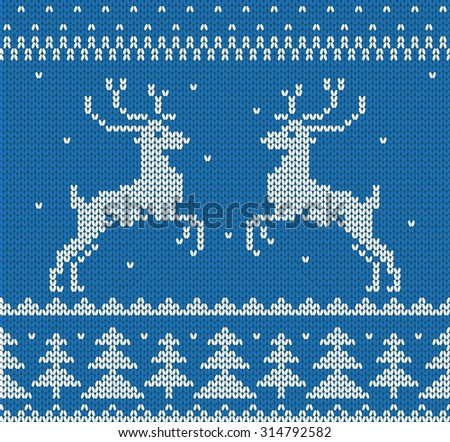 Christmas ornament. Sweater with deers.Vector illustration - stock vector