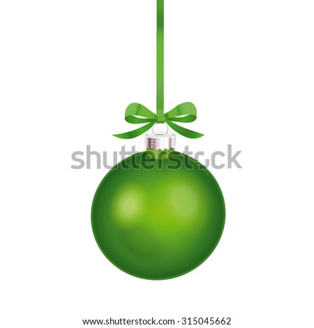 Christmas ornament with green ribbon. Vector Illustration. - stock vector