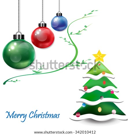 Christmas Ornamental balls with Christmas tree - stock vector