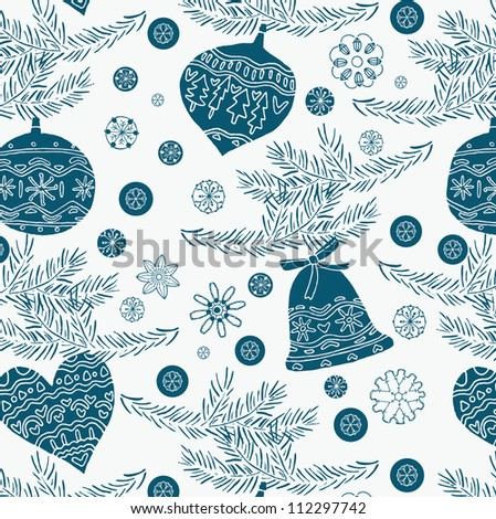 Christmas ornaments background - stock vector
