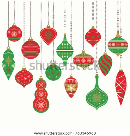 Christmas OrnamentsChristmas Balls Decorations Hanging Decoration CollectionVector Illustration