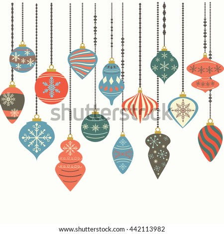 Christmas Ornaments,Christmas Balls Decorations,Christmas Hanging Decoration Elements.Vector illustration