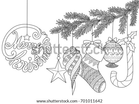 Christmas Ornaments For Adult Coloring Book PagesVector Illustration
