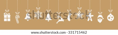christmas ornaments hanging gold background - stock vector
