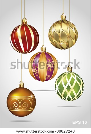 Christmas Ornaments Hanging on Gold Thread - stock vector