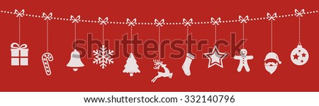 christmas ornaments hanging rope red background - stock vector