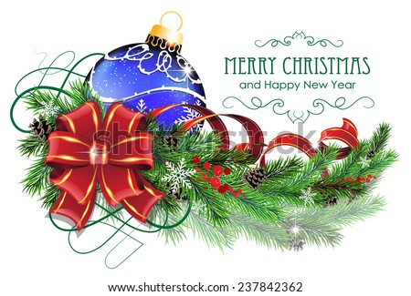 Christmas ornaments with bow, ribbon and fir tree branches on white background - stock vector