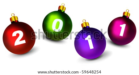 Christmas Ornaments with New Year 2011 Digits - stock vector