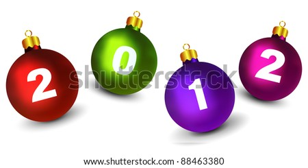 Christmas Ornaments with New Year 2012 Digits (EPS10 Vector) - stock vector