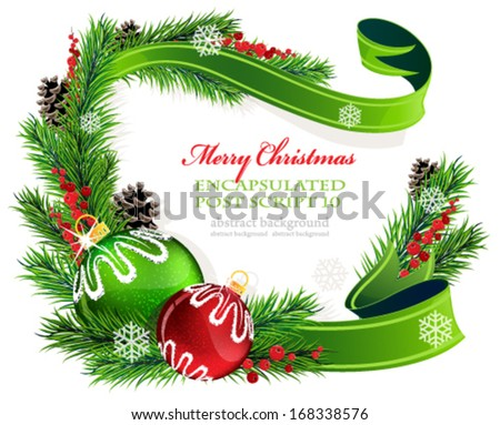 Christmas ornaments with ribbon and fir tree branches on white background - stock vector