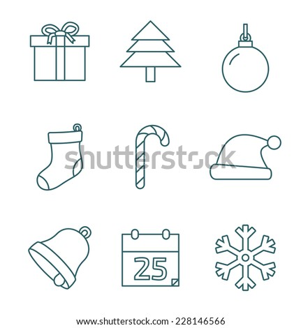 Christmas outline icons on white background. Vector illustration - stock vector