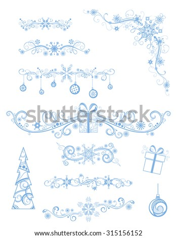 Christmas page dividers and decorations isolated on white background. Vintage ornate festive decorations of Christmas tree, gifts, snowflakes and Christmas balls. - stock vector
