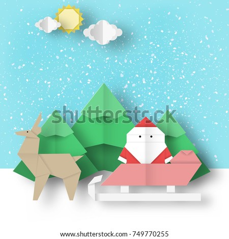 Winter Scene Origami Santa Claus And Reindeer Is Coming For Xmas
