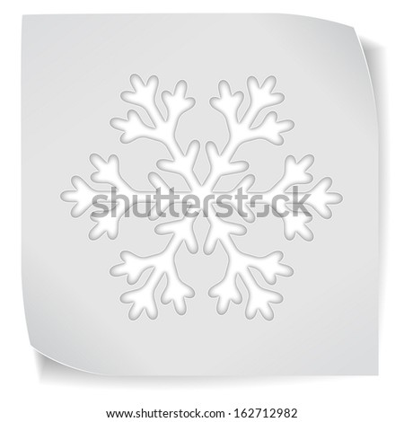 Christmas paper sticker with snowflake isolated on white. Vector EPS10.