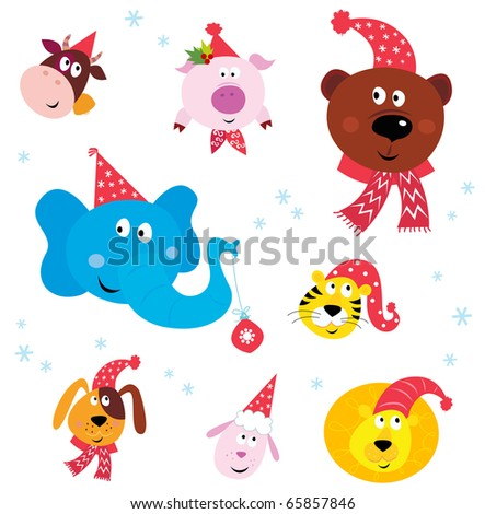 Christmas Party Animals with Santa hats. Vector Illustration. - stock vector