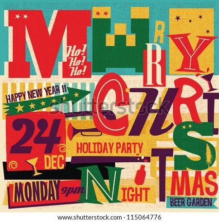 Christmas Party card - stock vector