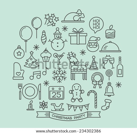 Christmas party elements outline icons set - stock vector