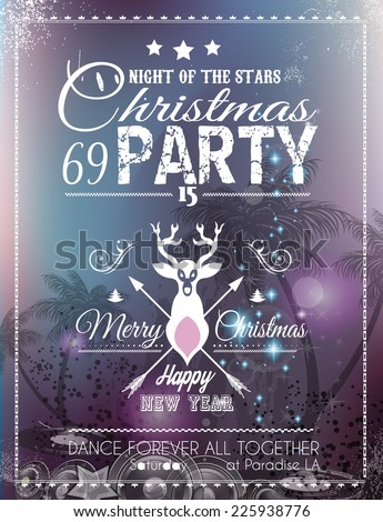 Christmas Party Flyer for Club and Disco events. Ideal for musical themed posters, invitation covers and new year's Eve discotheque nights! - stock vector