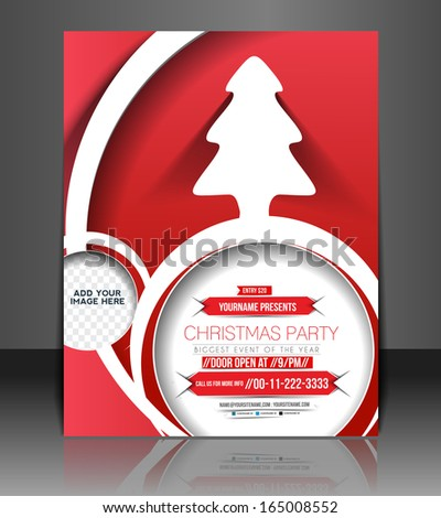 Christmas Party Flyer & Poster Template Design - stock vector
