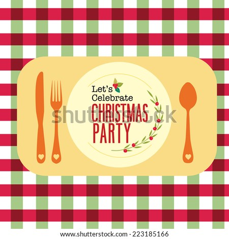 Christmas party greeting card menu background dinning table set - stock vector