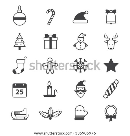 Christmas Party Icons Line - stock vector