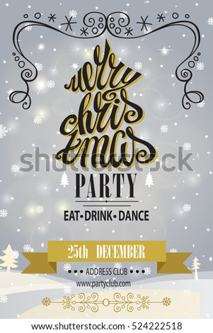 Christmas Party Invitationdesign Template Vector Merry Christmas ...
