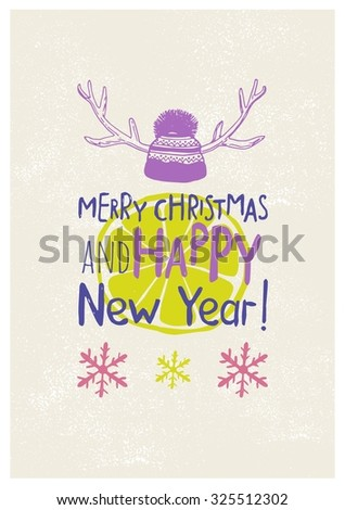 Christmas party invitation hand drawn lettering and design elements. Christmas holidays flyer or poster design. Vector illustration Eps 8. - stock vector