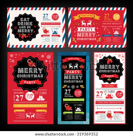 Christmas party invitation. Holiday card. Vector template with graphic. - stock vector
