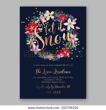 Christmas party invitation poster template with romantic winter wreath of red poinsettia flowers, pine and fir branch on blue background