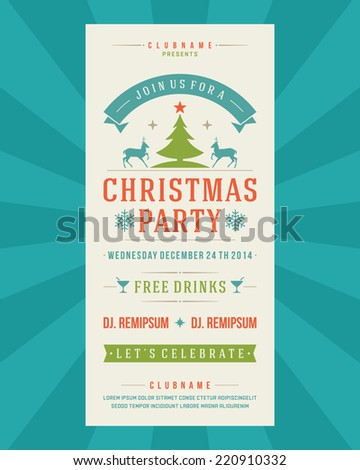 Christmas Party Invitation retro typography and ornament decoration. Christmas holidays flyer or poster design. Vector illustration - stock vector