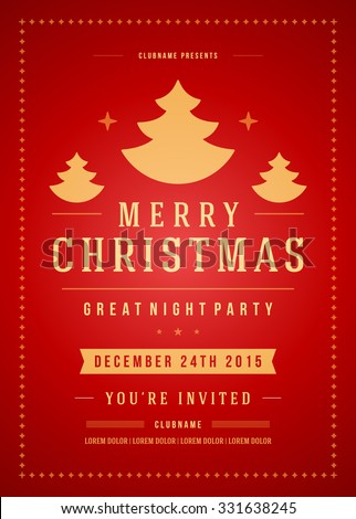 Christmas Party Invitation Retro Typography And Ornament Decoration Holidays Flyer Or Poster Design