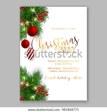 Christmas party invitation template background fir stock vector christmas party invitation template background with fir branches and red balls and red berry with decorations stopboris Image collections