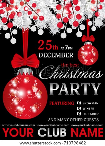 Christmas Party Invitation Template Black Background Stock Vector - Party invitation template: club party invitation template