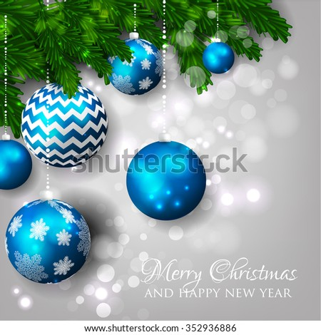 Christmas party invitation with fir branch, Bow and Stars. Merry Christmas and Happy New Year Card Xmas Decorations. Blur Snowflakes. Vector. - stock vector
