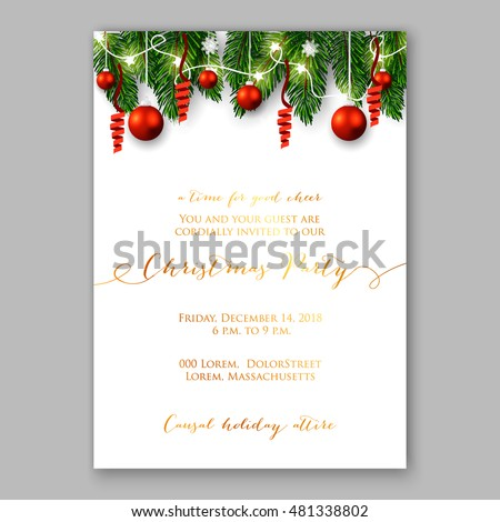 Christmas party invitation with holiday wreath of needle fir tree light garland, red balls