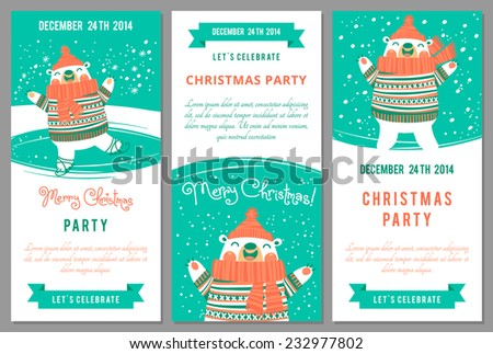 Christmas party invitations in cartoon style. Vector illustration. - stock vector