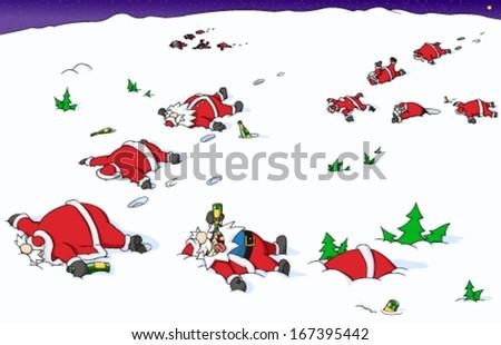 Christmas party outdoors celebration humorous cartoon, vector - stock vector