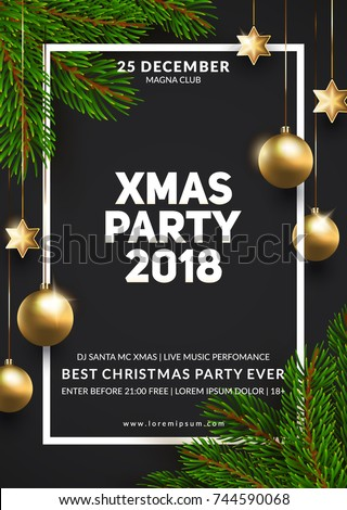 Christmas Party Poster Design Winter Holidays Background Eps10 Vector