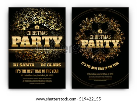 Christmas Party Poster Template Shining Lights Stock ...