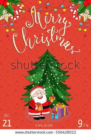Christmas party poster vector illustration invitation stock vector christmas party poster vector illustration invitation poster on christmas party stopboris Images