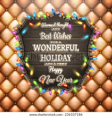 Christmas party poster - Wooden banner. EPS 10 vector file included - stock vector