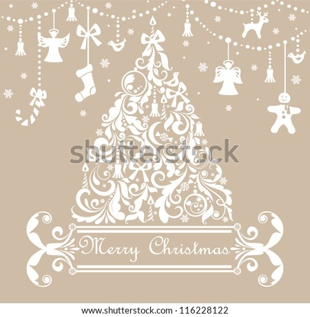 Christmas pastel greeting card - stock vector